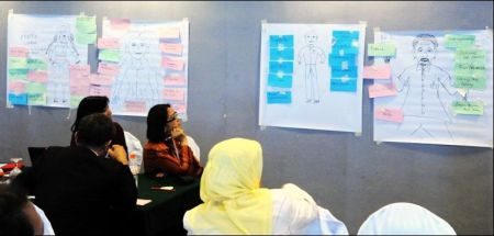 Participants at the ASEM gender in aquaculture training course, 2012 contemplate the basics. Source: Jariah Masud.