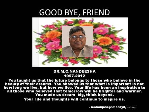 Farewell Dr Nandeesha. Source: Dr Mohan Joseph