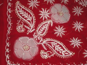Chikan embroidery on a saree. Photo: http://itsmynortheast.com/2011/06/asias-largest-dry-fish-market/