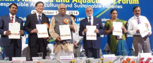 10IFAF Official Party launches GAF4 proceedings at the main Opening Ceremony, 12 November 2014, Lucknow, India. L. to r.: Dr J.K. Jena, DG National Bureau of Fish Genetic Resources (ICAR), Dr Cherdsak Virapat DG NACA, Shri Ram Naik Governor Uttar Pradesh, Dr S. Ayyappan DG ICAR, Dr M. Meenakumari DDG (Fisheries) ICAR, and Dr. B.A. Shamsundar Secretary AFSIB.