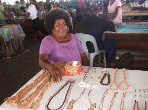 Selling shell jewellery, Central Markets, Honiara, Solomon Islands 2014. Photo: Kate Barclay