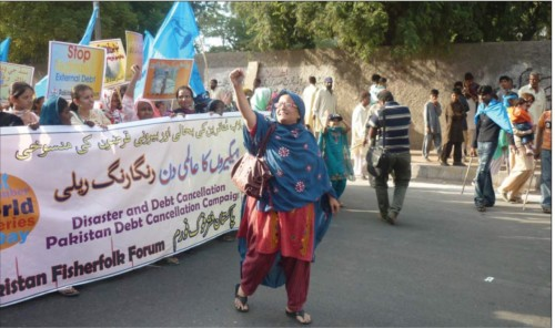 Tahira Shah leads a cultural rally in Hyderabad, Pakistan to celebrate World Fisheries Day on 21 November 2013. She spoke up against all forms of discrimination, based on gender, caste and religion and made other women also speak up against these. Source: Yemaya March 2015, ICSF. Photo by Mustafa Gurgaze.