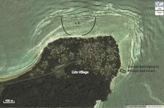 Fig. 8.2 from the chapter. Aerial view of Lido Village (N. coast PNG) at high tide, showing location of the o lɛ̃ depression in the fringing reef and the approximation of the coral garden belonging to Witepu, the mother of author Lahe-Deklin. The surf zone at the edge of the fringing reef is clearly visible, as is the seaward extent of the reef flat. Image courtesy of Google Maps.